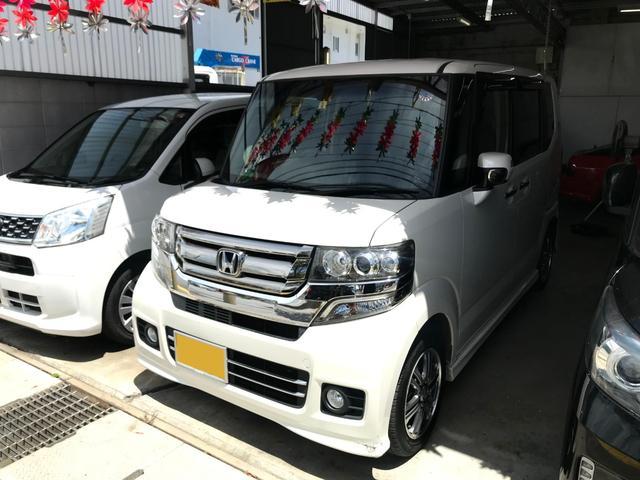 沖縄の中古車 ホンダ N-BOXカスタム 車両価格 103万円 リ済込 2015(平成27)年 6.8万km パール