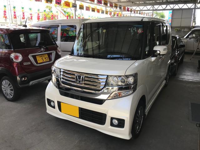 沖縄の中古車 ホンダ N-BOXカスタム 車両価格 116万円 リ済込 2015(平成27)年 1.7万km パール
