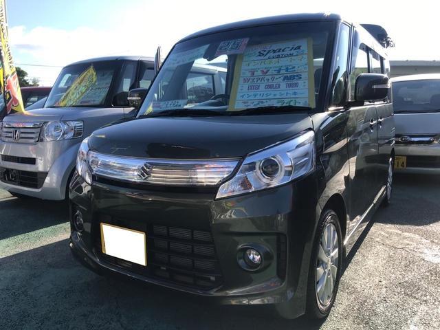 沖縄の中古車 スズキ スペーシアカスタム 車両価格 108万円 リ済込 平成25年 2.3万km グリーンM