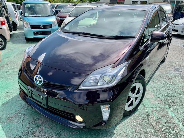 沖縄県の中古車ならプリウス S 修復歴なし 後期 Bluetoothオーディオ・TV・ナビ ビルトインETC バックカメラ ステアリングスイッチ AUTOライト フォグランプ ウインカーミラー トランクシェード