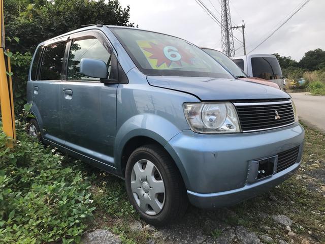 沖縄の中古車 三菱 eKワゴン 車両価格 6万円 リ済込 平成16年 9.6万km ライトブルーメタリック