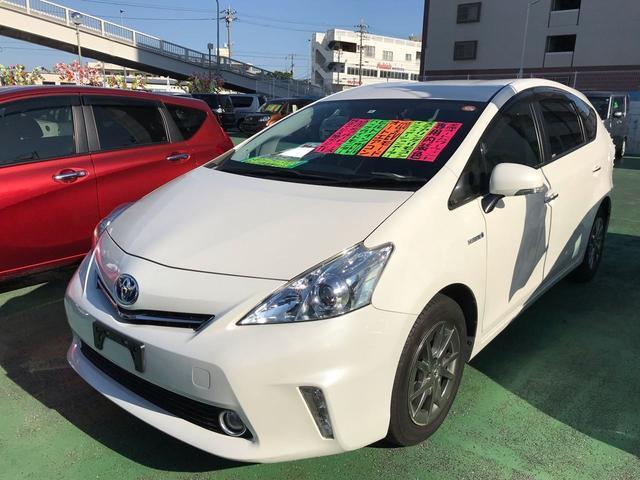 沖縄県の中古車ならプリウスアルファ S チューン ブラック 純正ナビTV