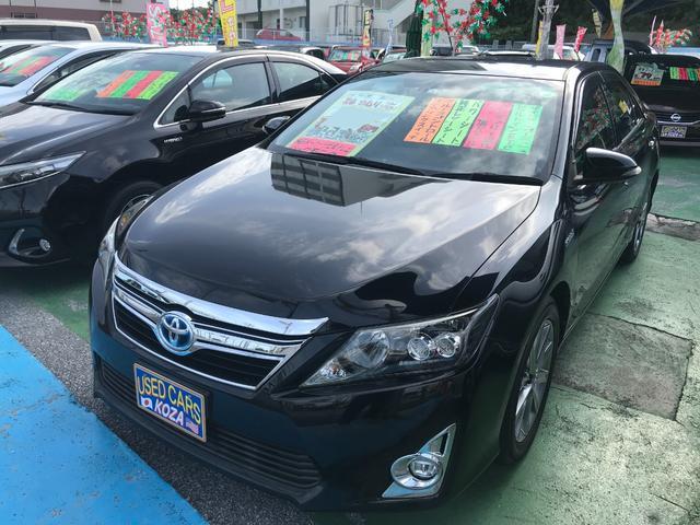 沖縄県の中古車ならカムリ ハイブリッド Gパッケージ・プレミアムブラック 純正ナビTV バックモニター