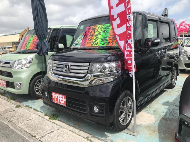 沖縄の中古車 ホンダ N-BOXカスタム 車両価格 88万円 リ済込 2014(平成26)年 6.9万km クリスタルブラックパール