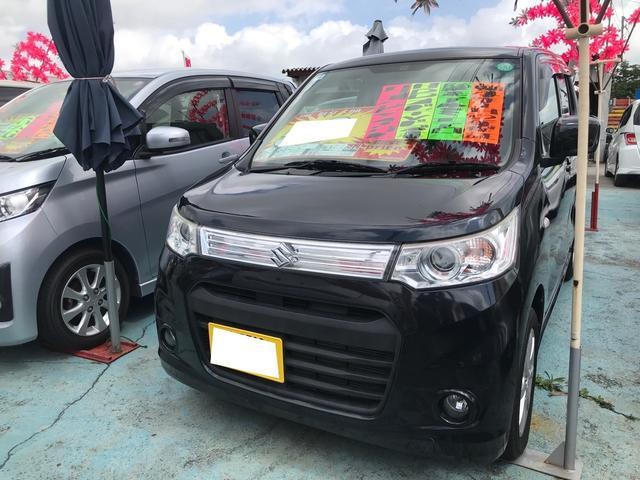 沖縄の中古車 スズキ ワゴンRスティングレー 車両価格 58万円 リ済込 2013(平成25)年 8.7万km ブルーイッシュブラックパール3