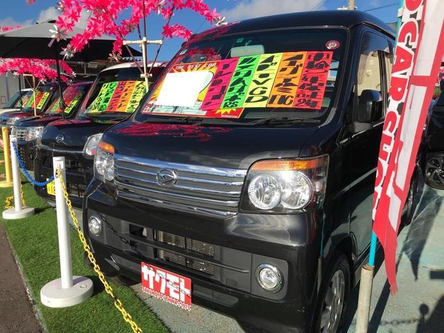 沖縄県の中古車ならアトレーワゴン カスタムターボRS インタークーラーターボ オートエアコン 両側スライドドア 純正ナビ ワンセグTV フォグランプ 純正アルミ 2年保証