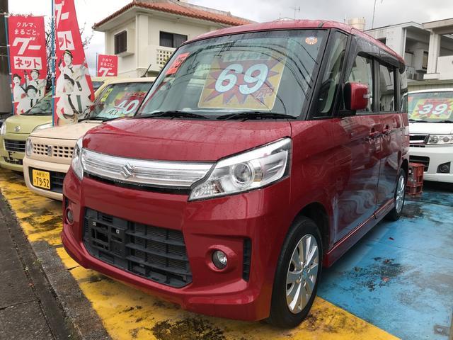 沖縄の中古車 スズキ スペーシアカスタム 車両価格 69万円 リ済込 平成25年 10.5万km フェニックスレッドパール