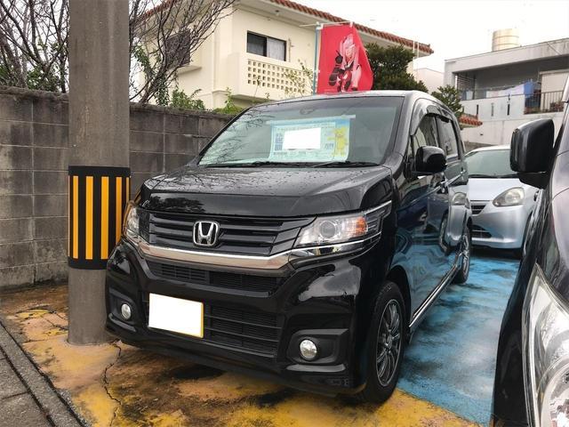 沖縄の中古車 ホンダ N-WGNカスタム 車両価格 85万円 リ済込 2015(平成27)年 2.7万km ブラック