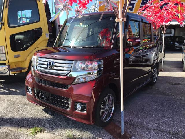 沖縄の中古車 ホンダ N-BOXカスタム 車両価格 89万円 リ済込 2014(平成26)年 6.7万km ワイン