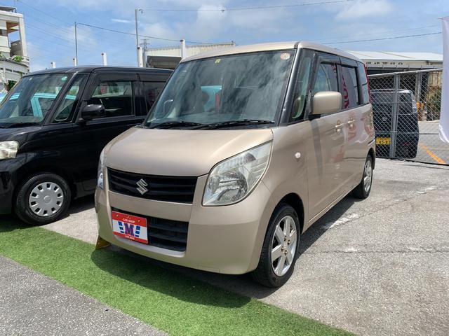 沖縄県浦添市の中古車ならパレット G 新車ユーザー下取り車 純正CDオーディオ ライトレベライザー ベージュインテリア ベンチシート 両側スライドドア 純正アルミ