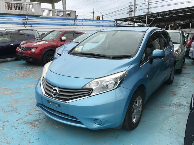 沖縄の中古車 日産 ノート 車両価格 49万円 リ済込 2013(平成25)年 7.2万km ライトブルー