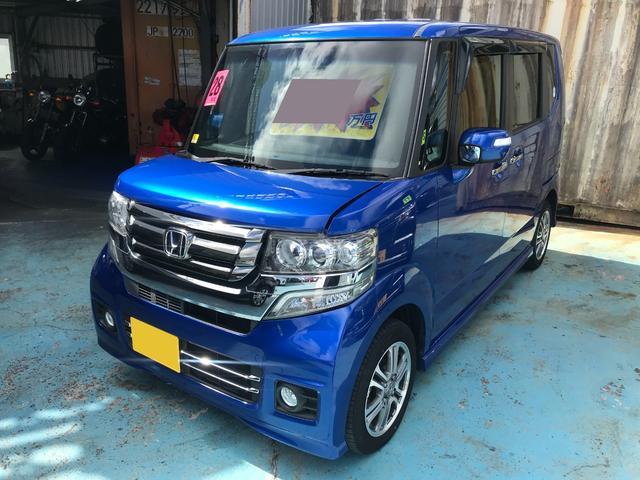 沖縄の中古車 ホンダ N-BOXカスタム 車両価格 116万円 リ済別 2016(平成28)年 5.1万km ブルー