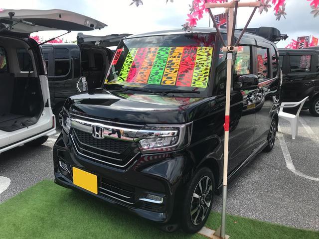 沖縄の中古車 ホンダ N-BOXカスタム 車両価格 133万円 リ済別 2018(平成30)年 3.3万km クリスタルブラックパールII