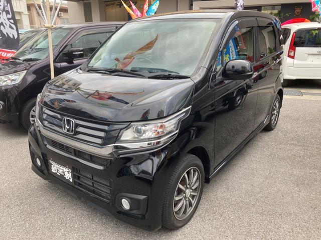 沖縄の中古車 ホンダ N-WGNカスタム 車両価格 88万円 リ済別 2014(平成26)年 6.4万km ブラック