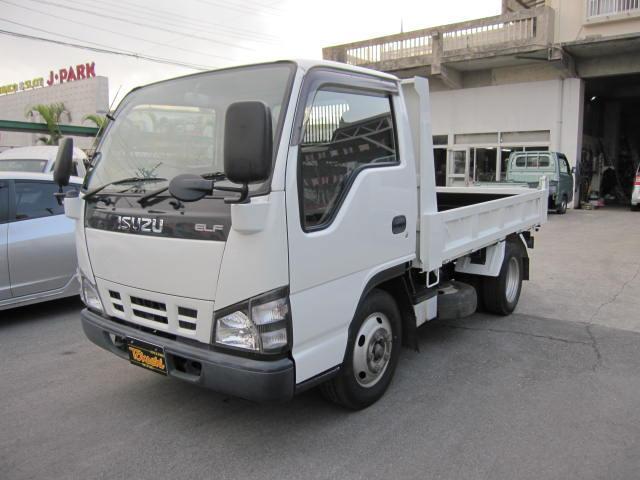 いすゞ エルフトラック 強化フルフラットローダンプ2t積み (車検...