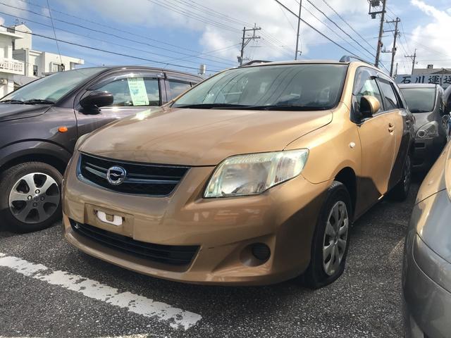 沖縄の中古車 トヨタ カローラフィールダー 車両価格 24万円 リ済込 平成20年 22.0万km ゴールド