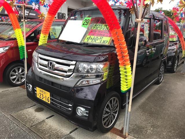 沖縄県糸満市の中古車ならN-BOXカスタム G DVD バックカメラ アイドリングストップ ABS