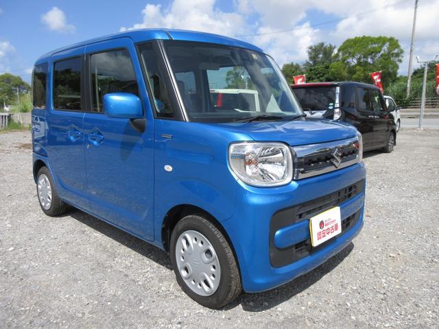 沖縄の中古車 スズキ スペーシア 車両価格 130万円 リ済込 2019(令和1)年 1.5万km ブリスクブルーメタリック