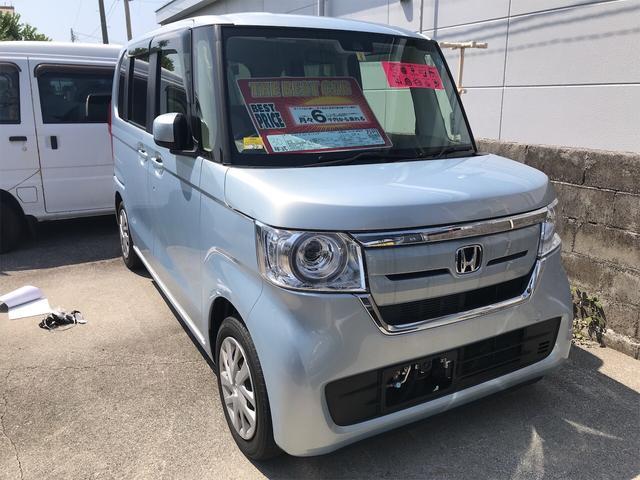 沖縄の中古車 ホンダ N-BOX 車両価格 129.8万円 リ済別 2018(平成30)年 1.8万km モーニングミストブルーメタリック