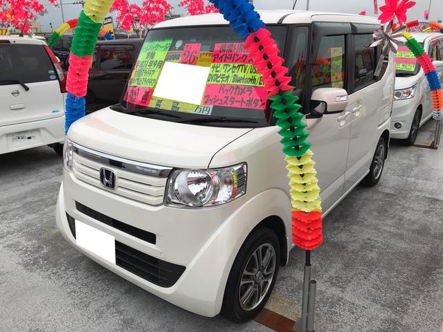 沖縄の中古車 ホンダ N-BOX 車両価格 96万円 リ済込 平成26年 7.9万km プレミアムホワイトパール