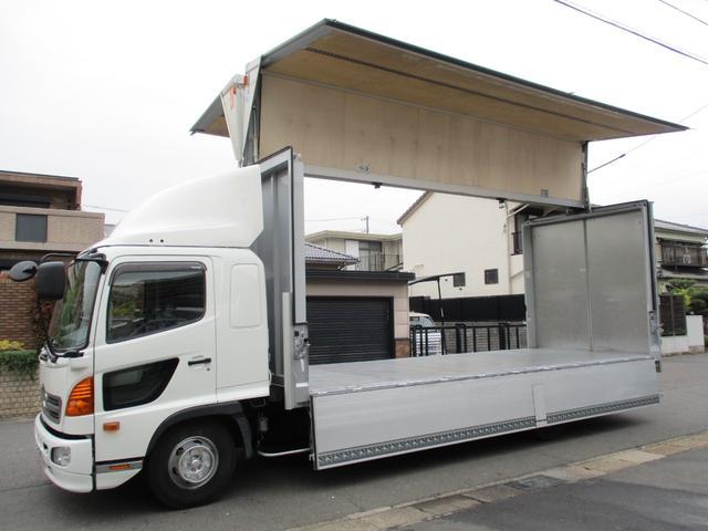 日野 レンジャー  アルミウイング ワイドロング 内寸628x240x242 鉄板張り 2.55t積 TKG-FD7JLAA 6.4Lターボ 6速 最大積載量2550キロ 車両総重量7980キロ