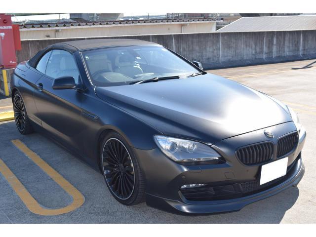 BMW 6シリーズ 640iカブリオレ マッドブラックラッピング・社外20AW・アダプティブヘッドライト・LEDフォグランプ・F ZERO4本出しマフラー・シュニッツァFリップ・バックモニター・ETC・純正ナビ・フルセグTVイルミスカッフ