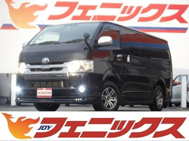 トヨタ スーパーGL ダークプライム 9インチナビTV 12インチフリップダウンモニター スマートキー モデリスタエアロ バックモニター ハーフレザーシート ウッド調パネルカバー プリクラッシュセーフティ LEDヘッドライト