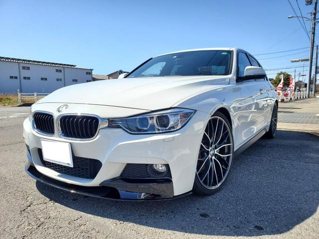 BMW 3シリーズ 320i Mスポーツ 黒革シート 純正ナビ 地デジTV スマートキー 車高調・20インチアルミ・アーキュレー4本出しマフラー