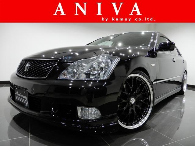 トヨタ アスリートプレミアム黒革サンルーフ車高調20AWエアロ1オナ