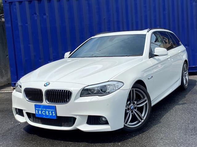 BMW 5シリーズ 523iツーリング Mスポーツパッケージ 後期エンジン・純正ナビ・地デジ・TVキャンセラー・Bカメラ・サンルーフ・ブラックレザーシート・パワーシート・シートヒーター・オプション19AW・パドルシフト・コンフォートアクセス
