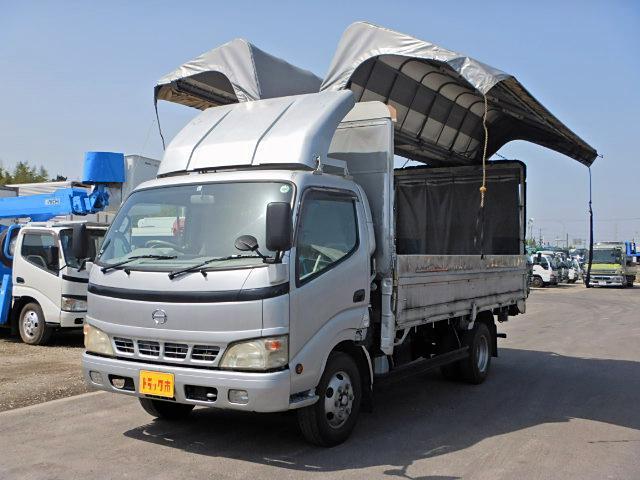 日野 電動幌ウィング ワイドロング 3t ラッシング1段 風防付