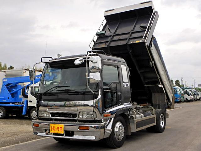 いすゞ 土砂ダンプ 増トン 電動コボレーン 新明和 7.4t積 6速