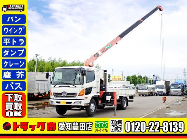 日野  平ボディー 3段クレーン ラジコン 5方開 ベット 2.4t 6MT