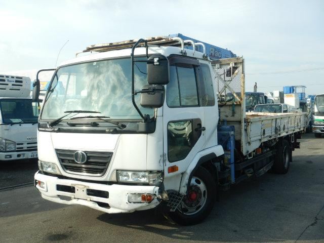 日産ディーゼル 増トン4段クレーン付き 平 5トン ラジコン付き フックイン