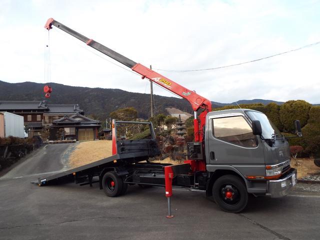 三菱ふそう キャンター  3段クレーン付き積載車3900Dターボセーフティーローダー キャリアカー