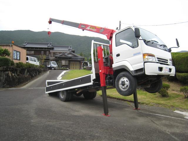 いすゞ  1オーナー3段クレーン付セルフ 回送車 4tベース 3100kg積載車