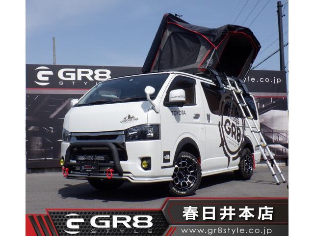 トヨタ ハイエースバン スーパーGL ダークプライム GR8デモカー/ALPINE BIGXナビ/フリップダウンモニター/GR8キャンピングキット/2インチリフトアップ/GR8ルーフテント/GR8フルエアロ/17inAW/ロッドホルダー/3枚目ガラス小窓