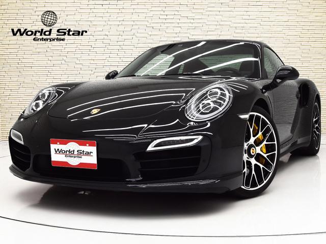 ポルシェ 911 911ターボS PDK スポーツクロノPKG ツートンレザーインテリア ベンチレーター シートH レザーシートバックレスト ポルシェクレストエンボス加工アームレスト カーボンインテリアPKG PCCB イエローキャリパー LEDヘッドライト
