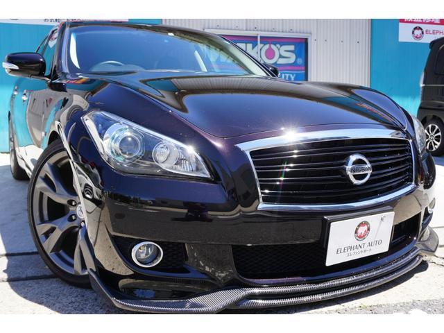 日産 370GT タイプS 黒革BOSE車高調社外マフラーFリップ