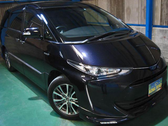 トヨタ エスティマハイブリッド アエラス プレミアム-G 4WD メーカーオプション全装着プリクラLDAクルコン9型SDナビ11.2型後席ディスプレイCソナパワーバック両電ドア半革快適温熱シートATハイビーム電動格納3シート寒冷地サイドエアバッグ2.0ETC