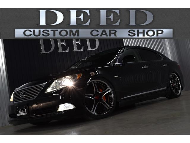 LS460 黒革エアーシート サンルーフ フルエアロ エアサスコントローラー レオンハルト21インチ 新品タイヤ 2カラーLEDフォグ スモーク施工済み HDDナビ ミュージックサーバー ウッドハンドル ETC