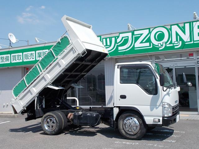 いすゞ 全低床 強化ダンプ 2トン積 3方開 集中ドアロック