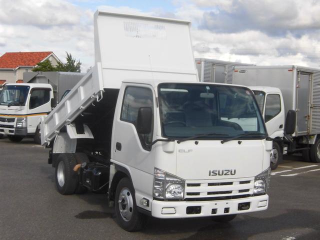いすゞ エルフトラック 全低床3トン積ダンプ・3方開コボレーン付