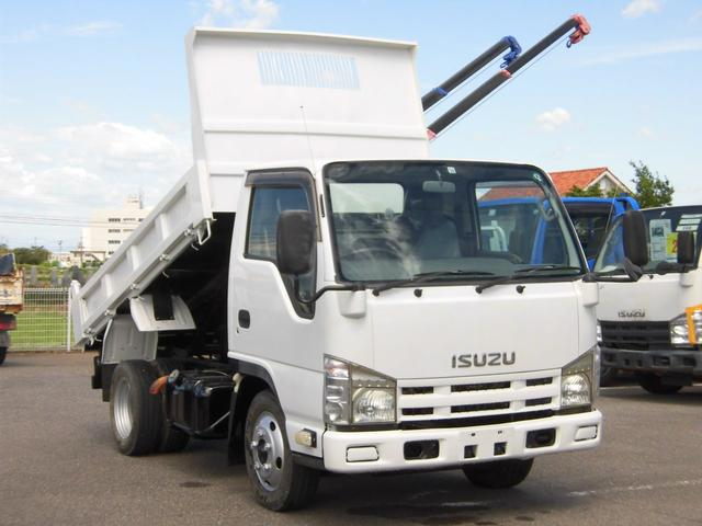 いすゞ エルフトラック 全低床2トン積強化ダンプ 3方開・坂道発進補助装置・道板フック付
