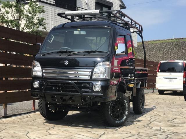 スズキ スーパーキャリイ X 5インチリフトアップ バンパーガード ハードカーゴ キャリア&バスケット キーレス 4WD 5速MT