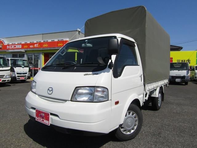 マツダ ボンゴトラック シングルワイドローDX ロング平ボディー ホロ付き ナビTV オートマ車 積載1.15トン
