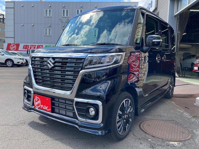 スズキ スペーシアカスタム ハイブリッドXS 4WD 安全装備 衝突軽減システム スマートキー アイドリングストップ クリアランスソナー ベンチシート シートヒーター