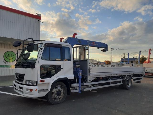 UDトラックス  増t クレーン車 4段ラジコン ワイド超ロング 積載7t 荷台内寸L655W228H35