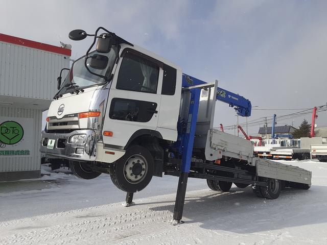 UDトラックス コンドル  増トン クレーン車セルフ 4段ラジコン ワイドロング 積載3.75t 荷台内寸L542W237H35