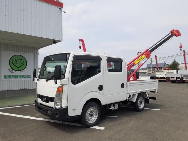 日産 アトラストラック  4WD Wキャブ ミニクレーン付 Rヒーター 積載0.85t 荷台内寸L210W161H38